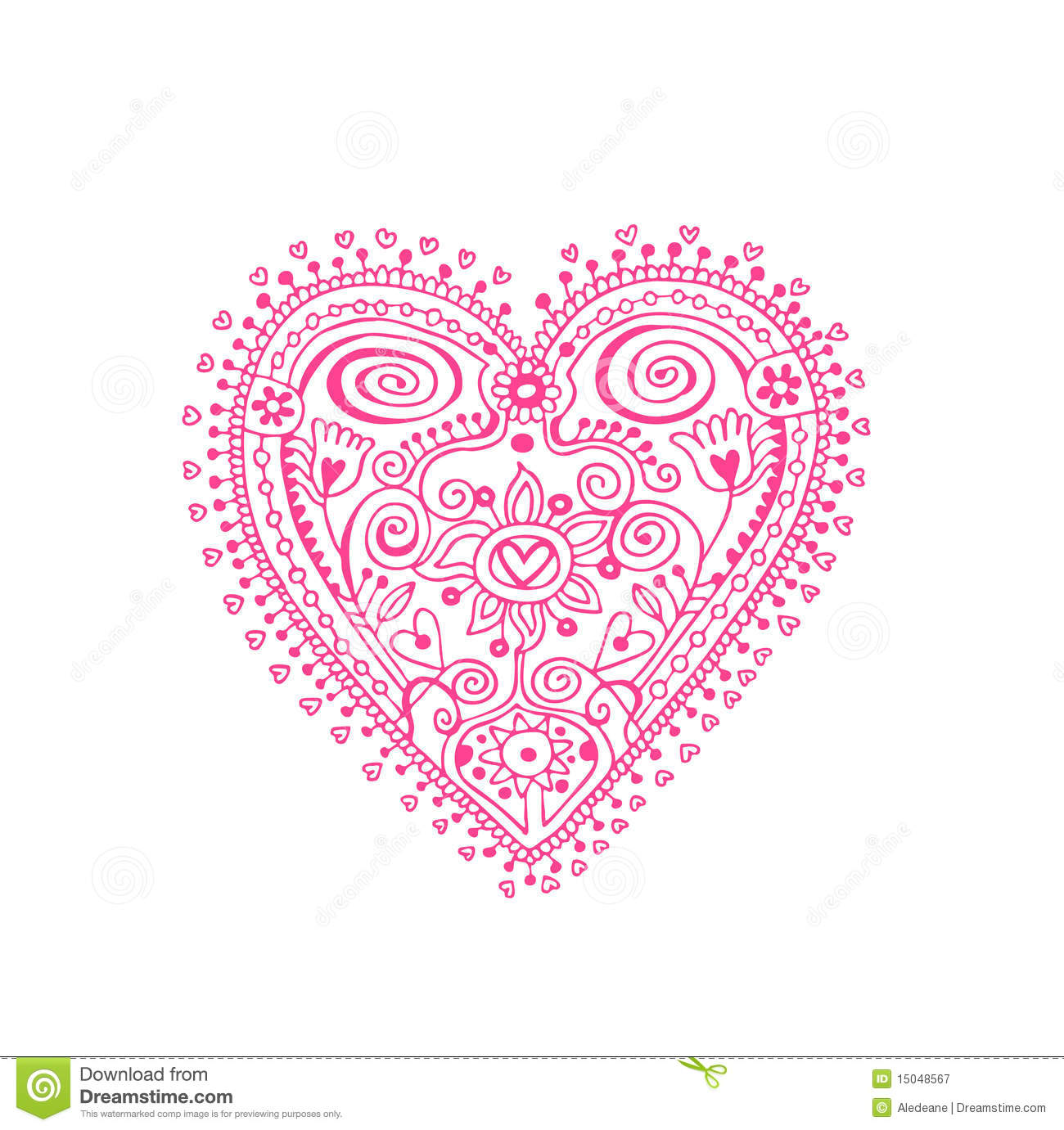 Design Element With Lacy Heart In Doily Style The Two Sides Of