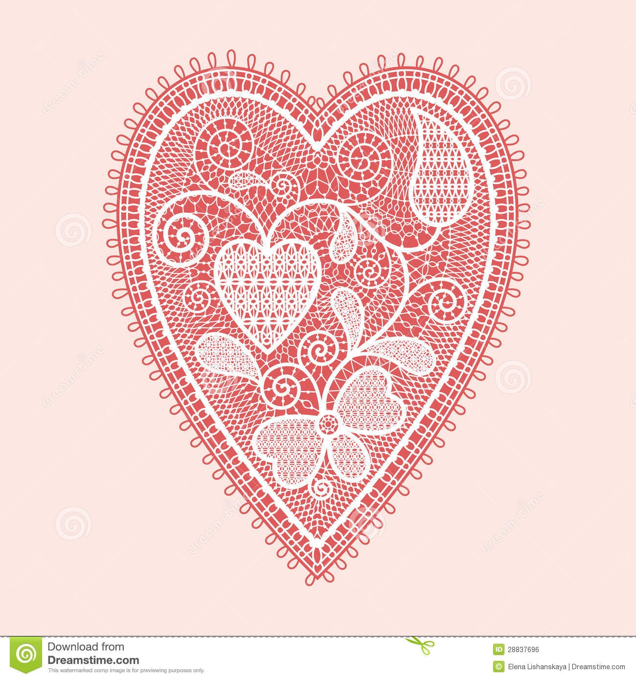 Lace Heart Stock Vector Illustration Of Romantic