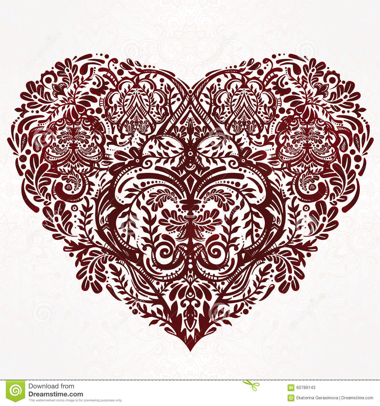 Lace Heart Vector Art Stock Vector Image 60789143