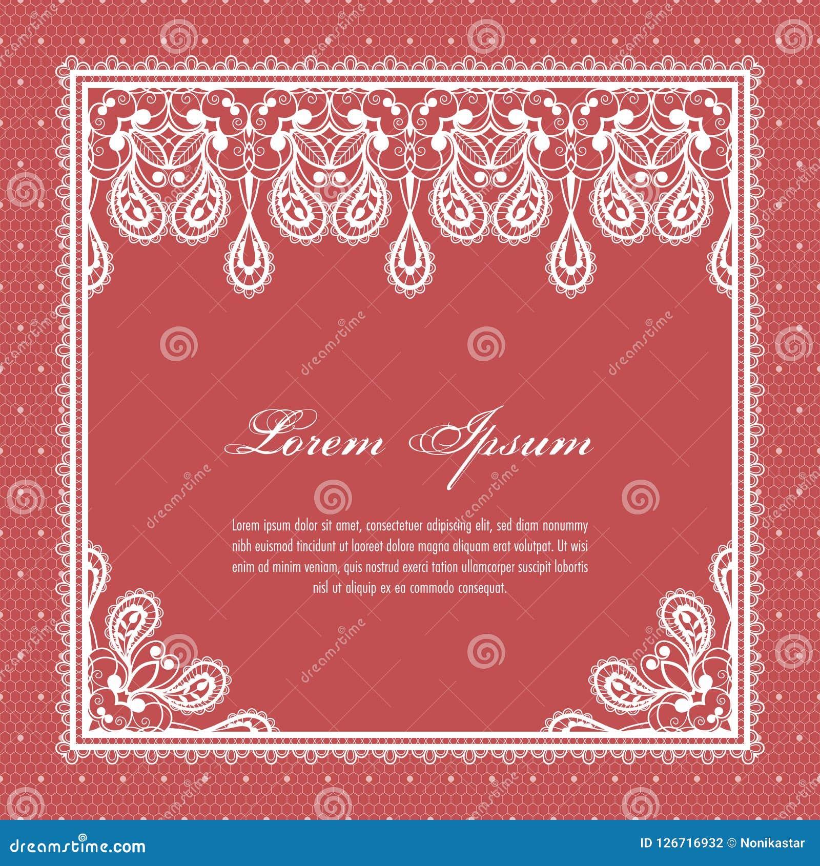 Lace invitation template stock vector. Illustration of graphic ...