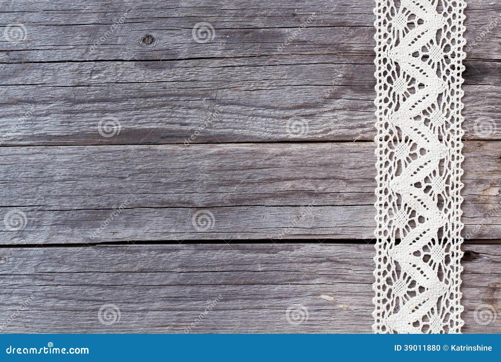 Lace On Old Wood Background Stock Photo Image Of