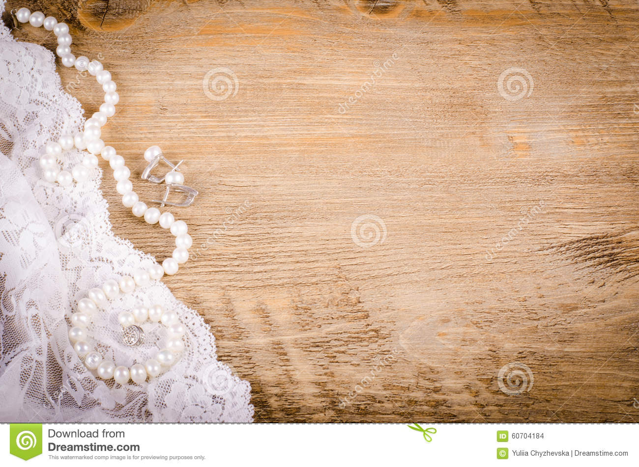 Download Lace Pearl Necklace Earrings On Wooden Background Rustic Stock Photo