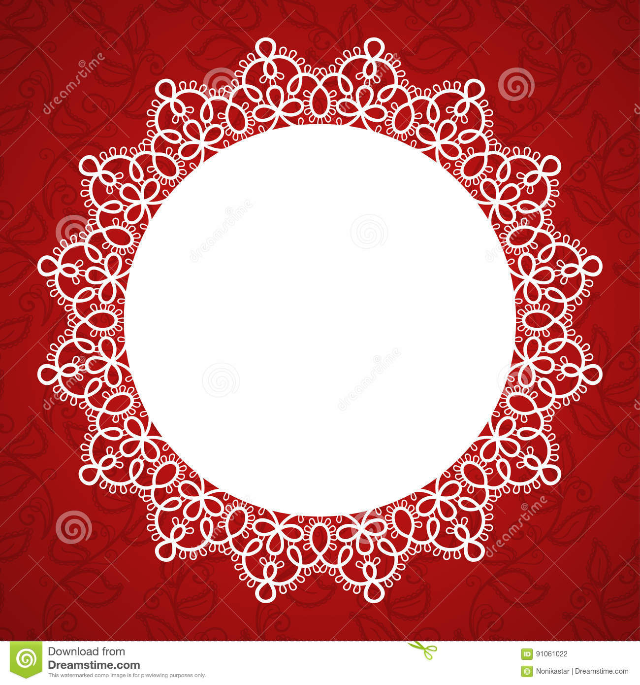 Lace round frame stock vector. Illustration of invitation - 91061022