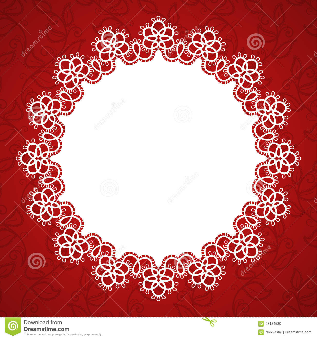 Lace round frame stock vector. Illustration of doily - 93134530