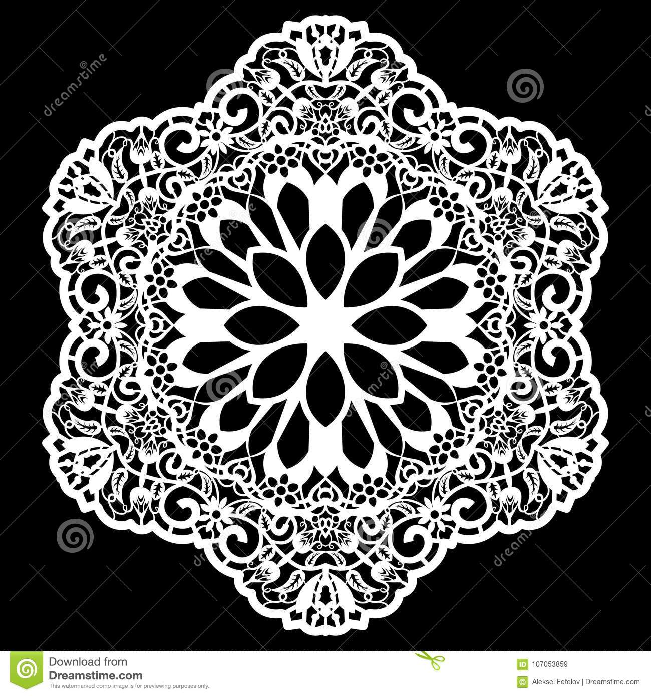Lace Round Paper Doily, Lacy Snowflake, Greeting Element, Laser Cut ...