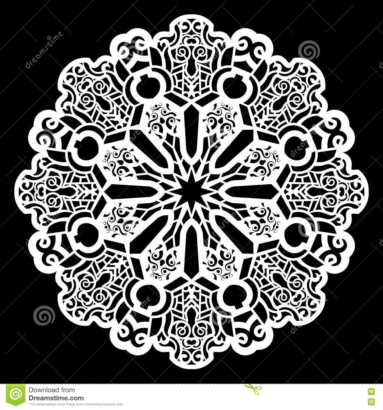 Lace Round Paper Doily Lacy Snowflake Greeting Element Template