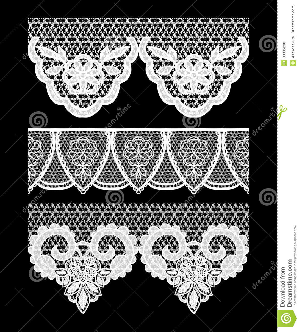 Lace seamless borders set of elements for design stock for Border lace glam