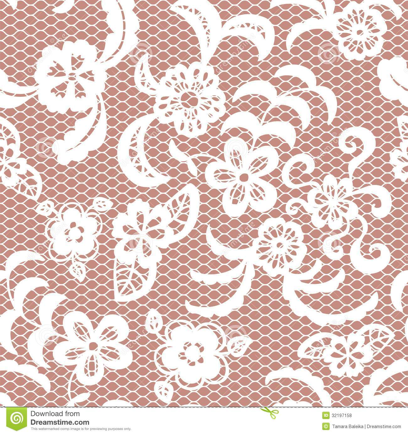 Lace Seamless Pattern With Flowers Royalty Free Stock
