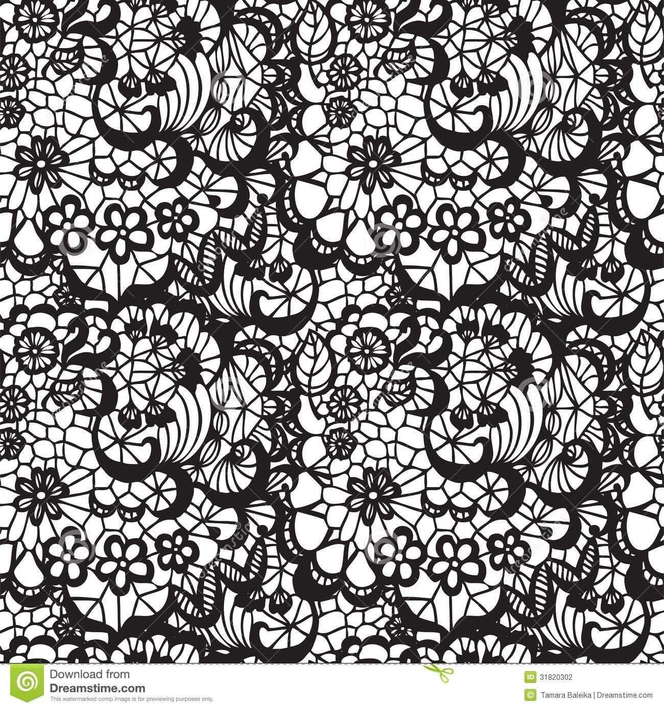 Black Flower Rose From Lace On White Background: Lace Seamless Pattern With Flowers Stock Photography