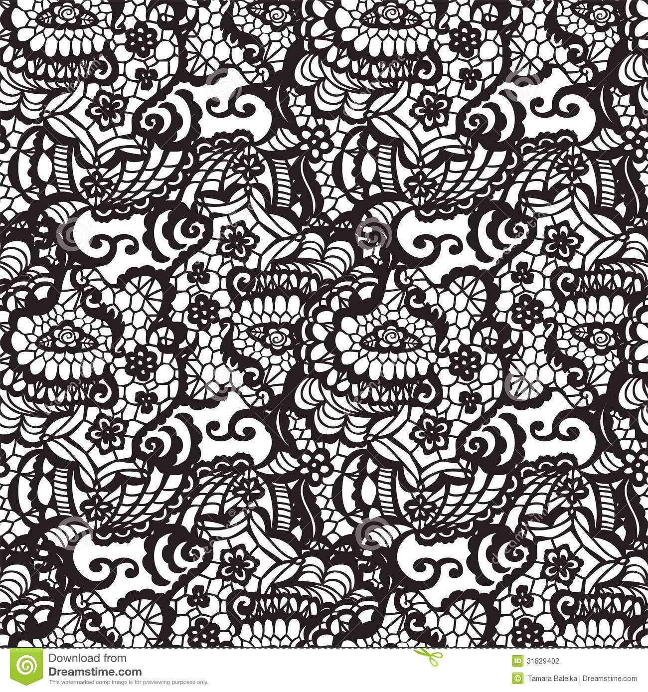 Lace Seamless Pattern With Flowers Stock Vector ...