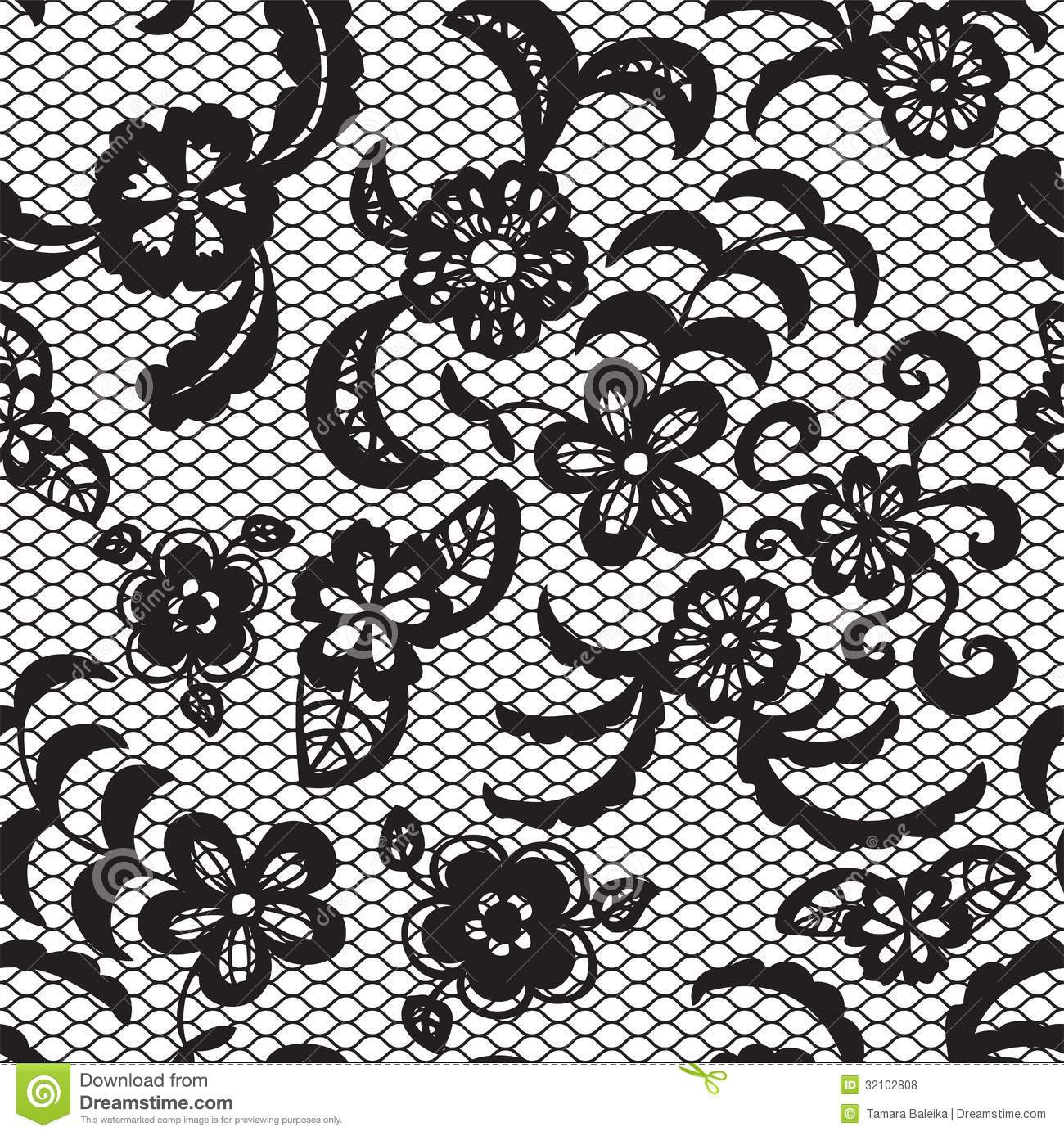 Lace Seamless Pattern With Flowers Stock Vector Illustration Of