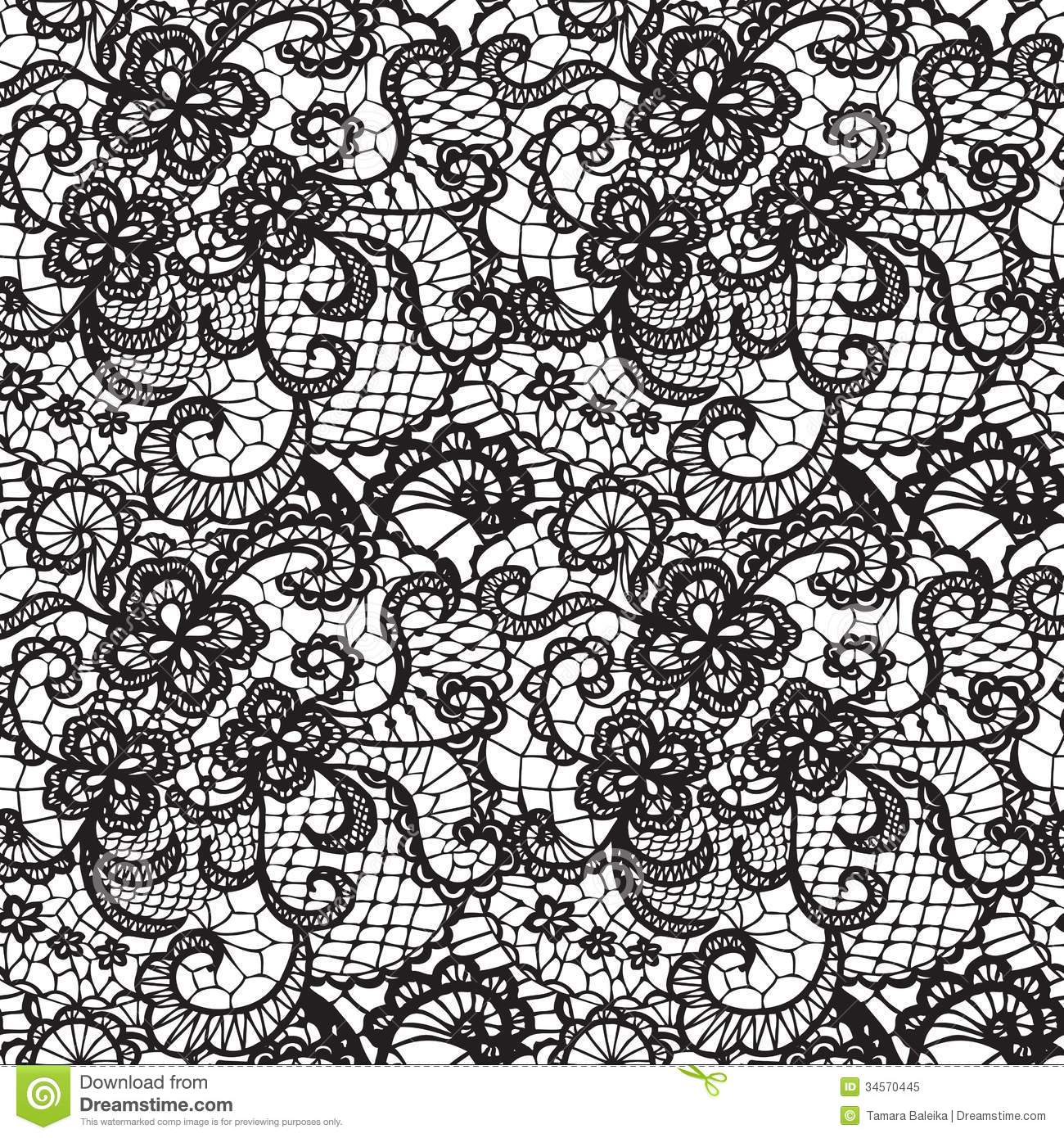 Black Flower Rose From Lace On White Background: Lace Seamless Pattern With Flowers Stock Vector