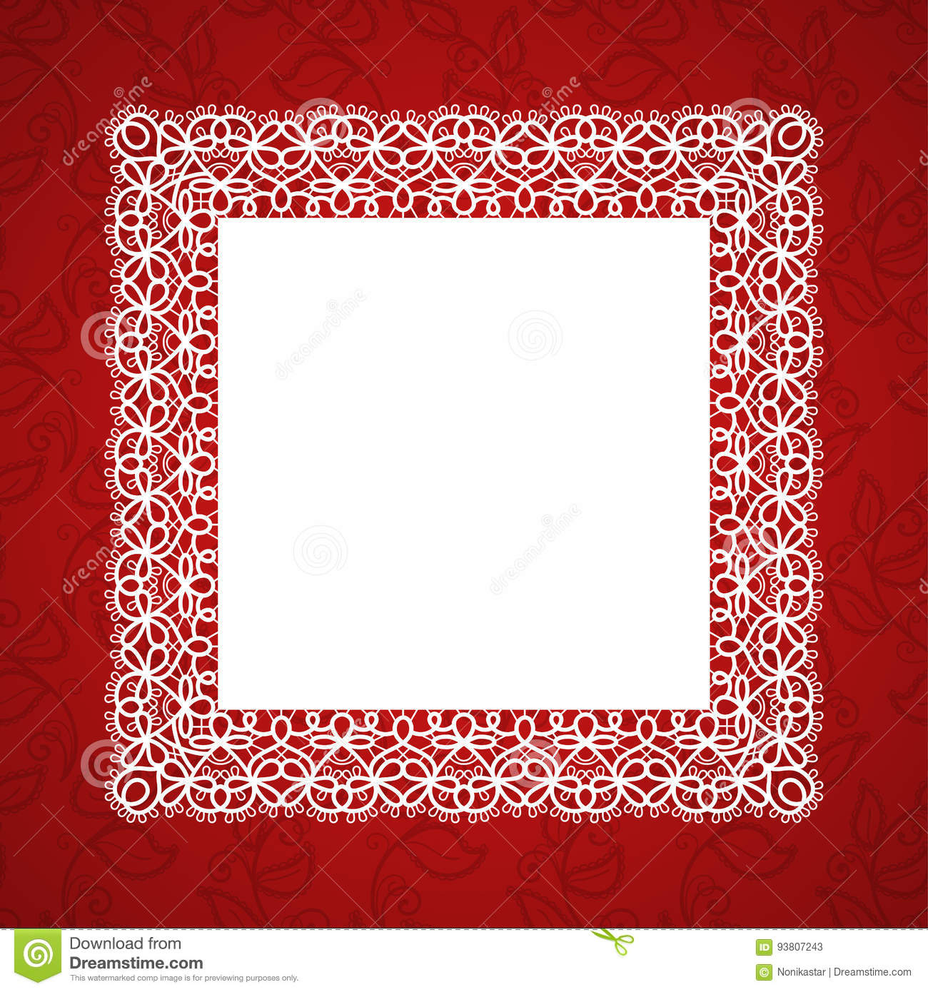 Lace square frame stock vector. Illustration of embroidery - 93807243