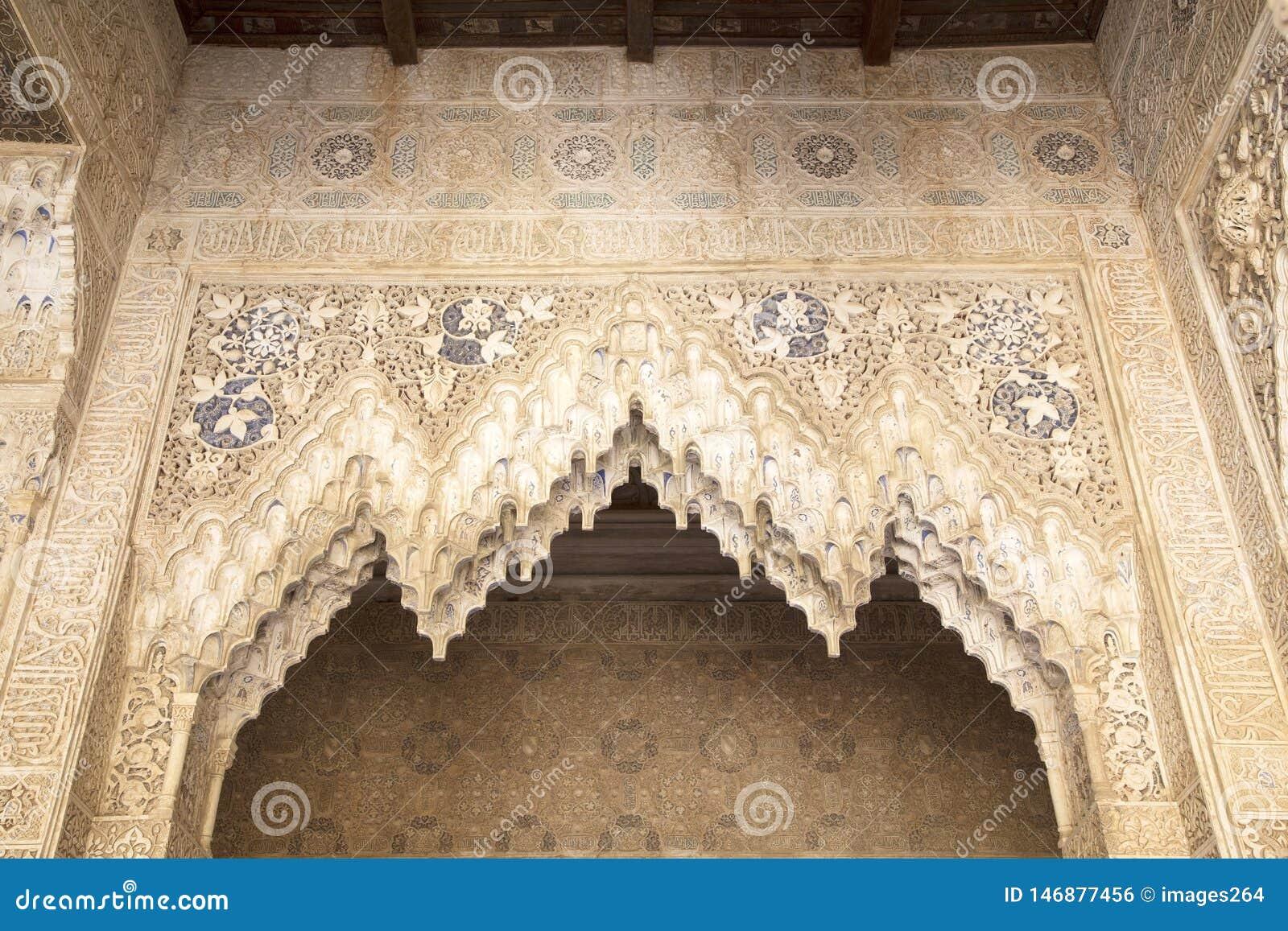 Lacework stucco in the Alhambra of Granada