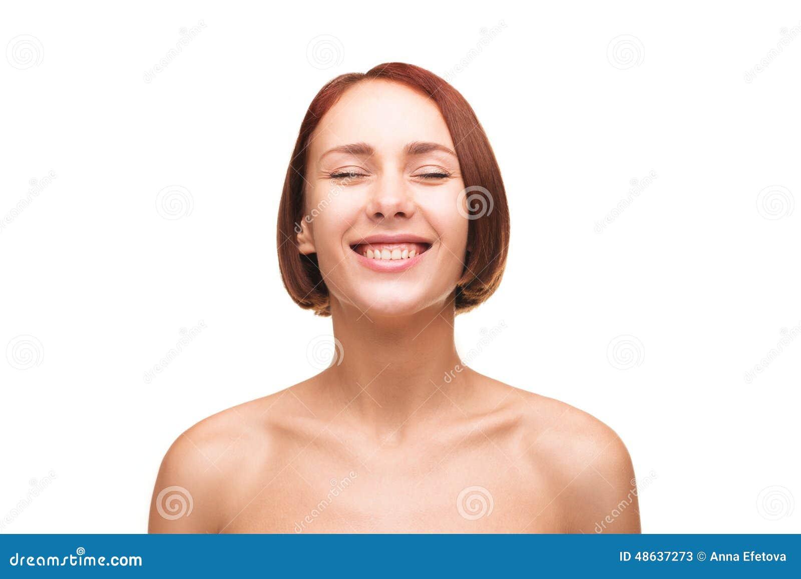 Lachende nackte Frauen stockbild. Bild von schönheit