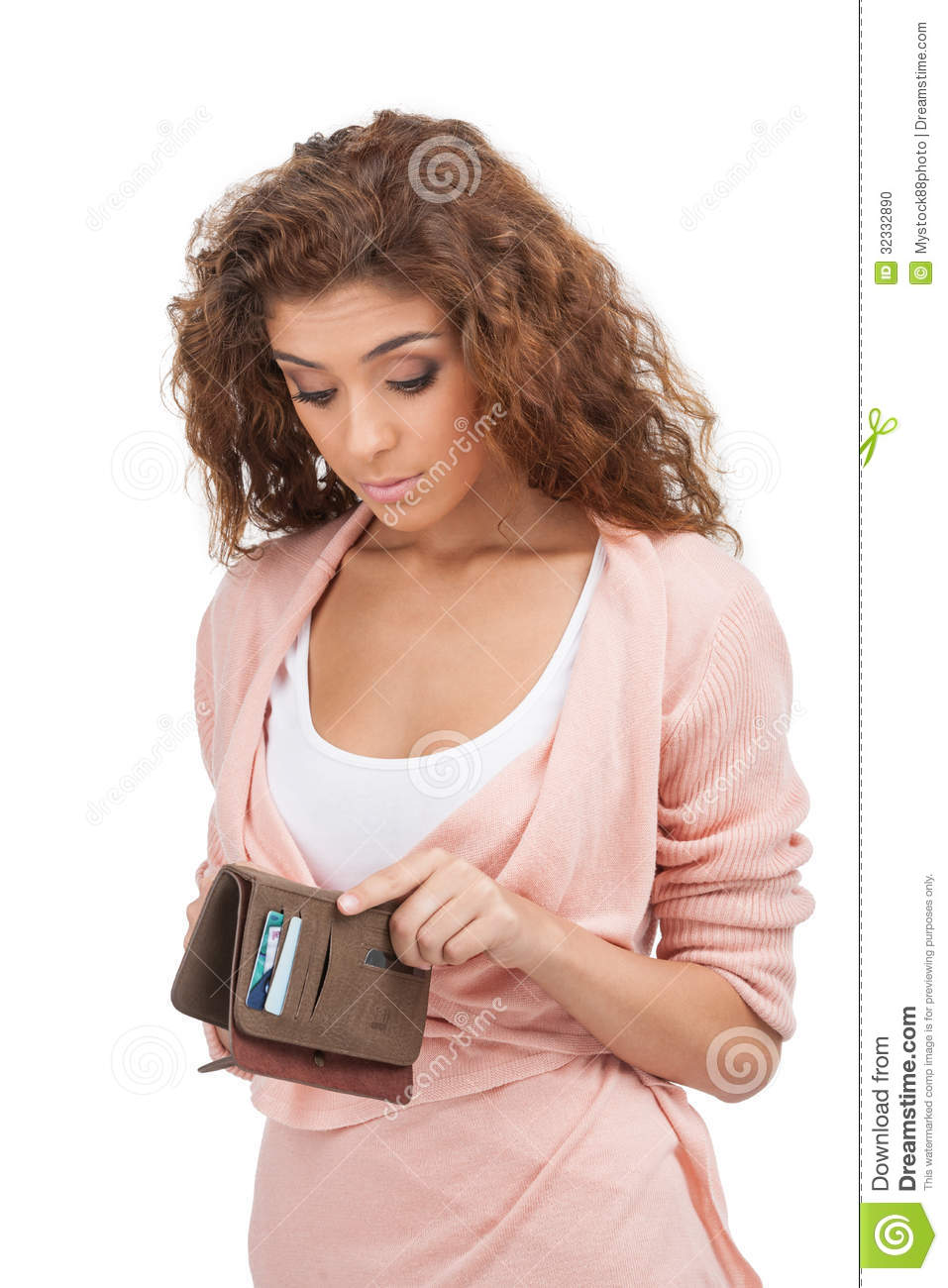 ... Young Women Looking At Her Empty Purse Stock Photo - Image: 32332890
