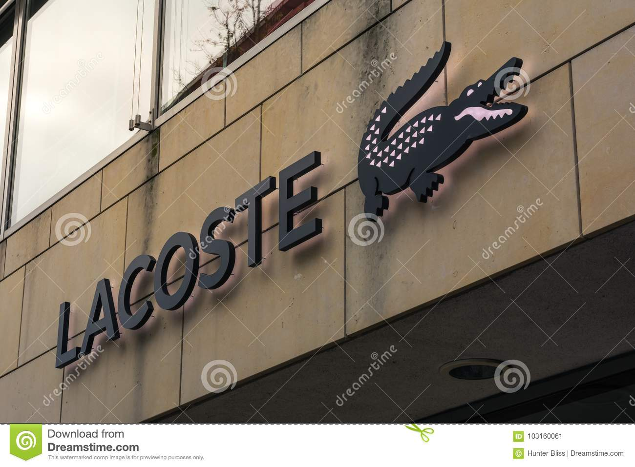 79da69ce20b90 Lacoste Logo At Metzingen Outlet Shopping Complex In Germany