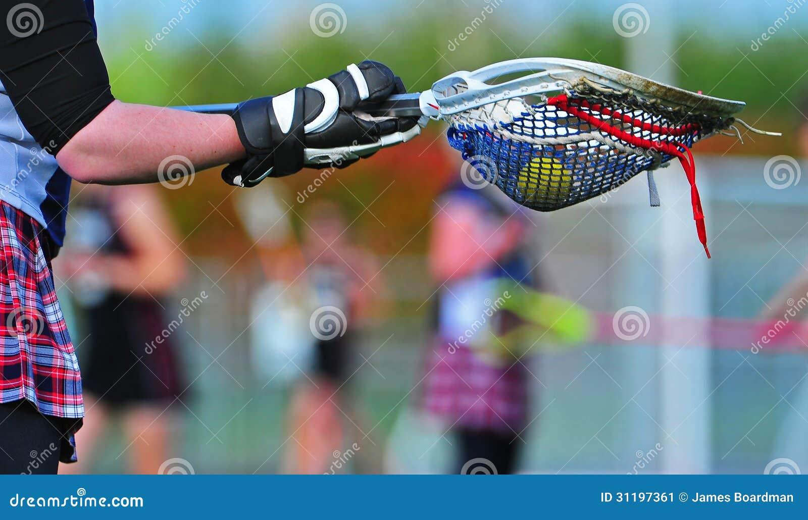 Lacrosse bramkarza kij z gemową piłką