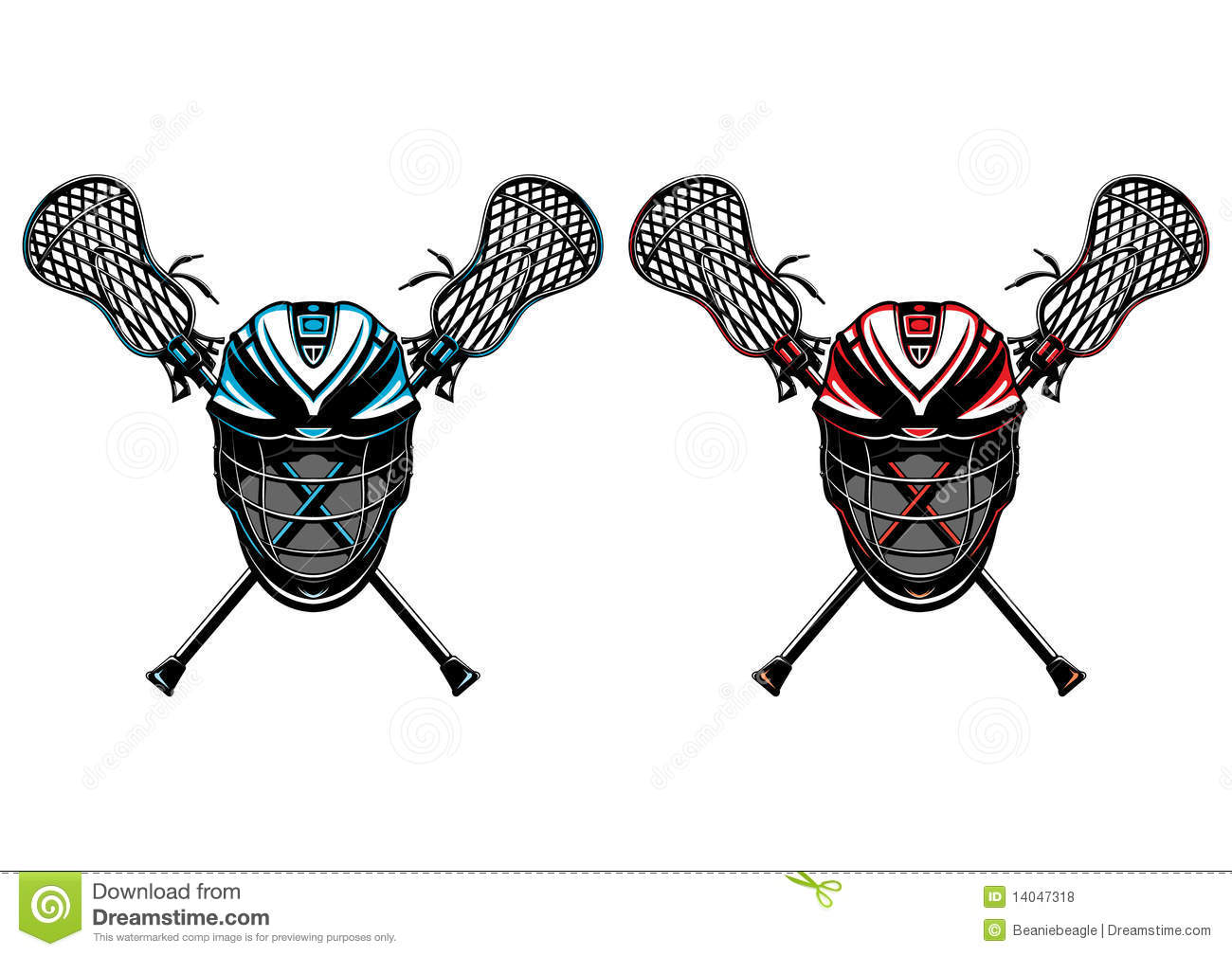 Lacrosse Sticks And Ball. Equipment Front View Royalty ...