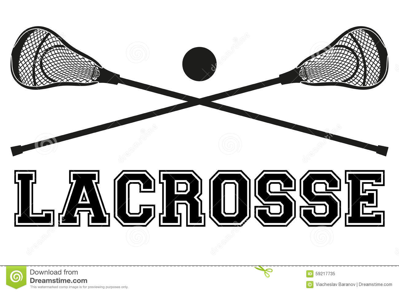 Lacrosse Sticks And Ball Equipment Front View Royalty