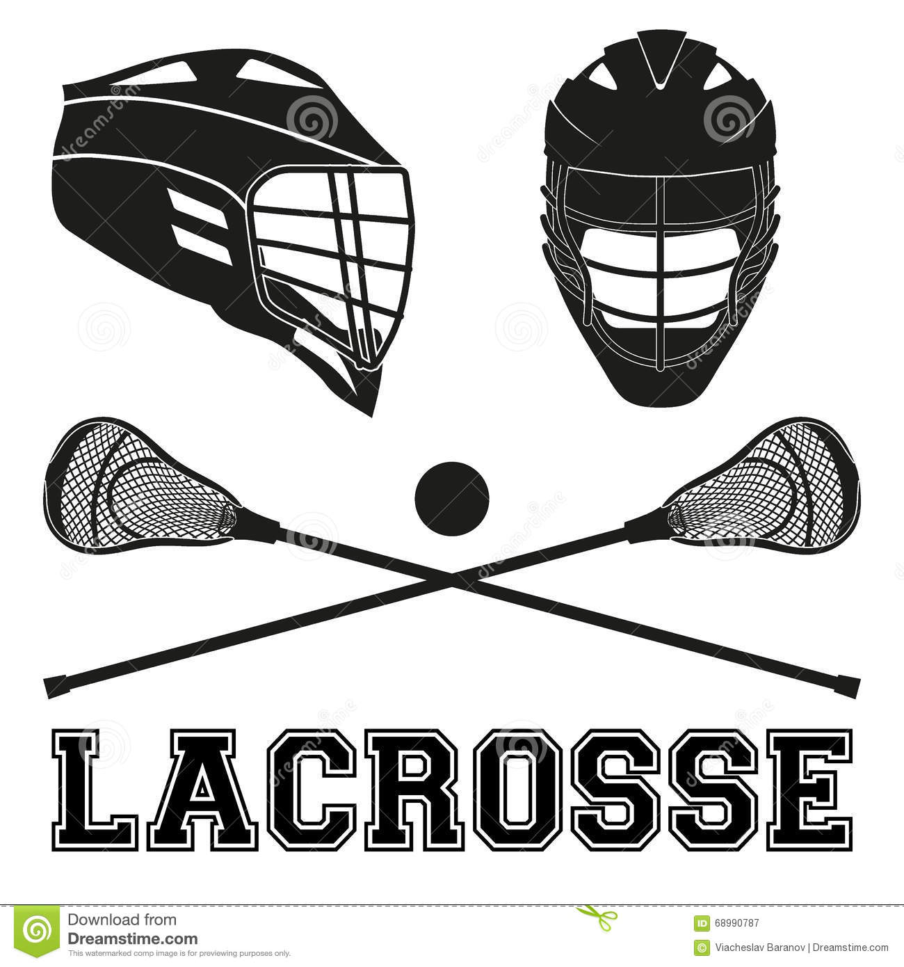 Lacrosse Sticks And Helmets. Flat Style Stock Vector ...