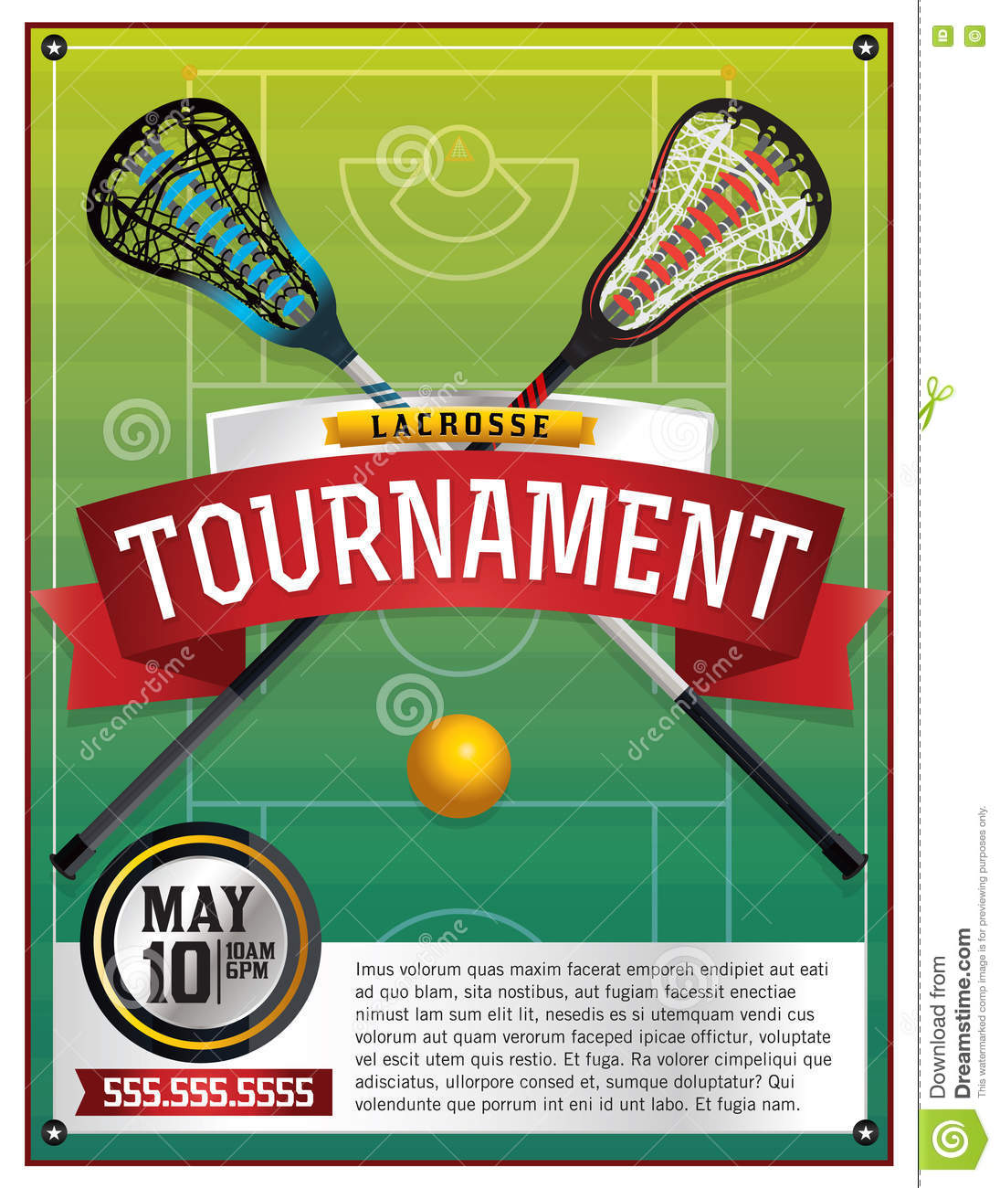 lacrosse tournament flyer template stock vector illustration of