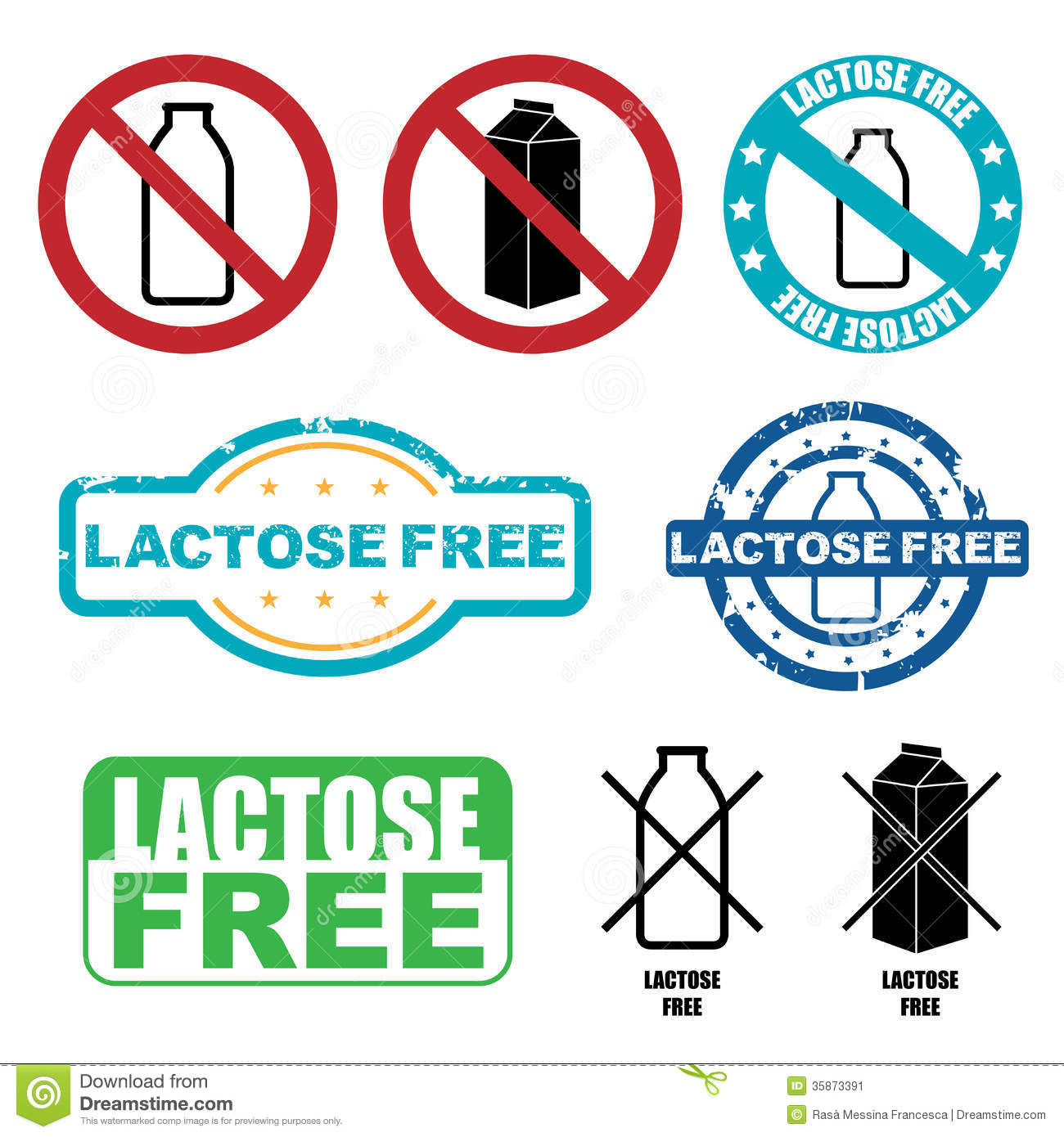 Lactose Free Symbols Stock Vector Illustration Of Collection 35873391