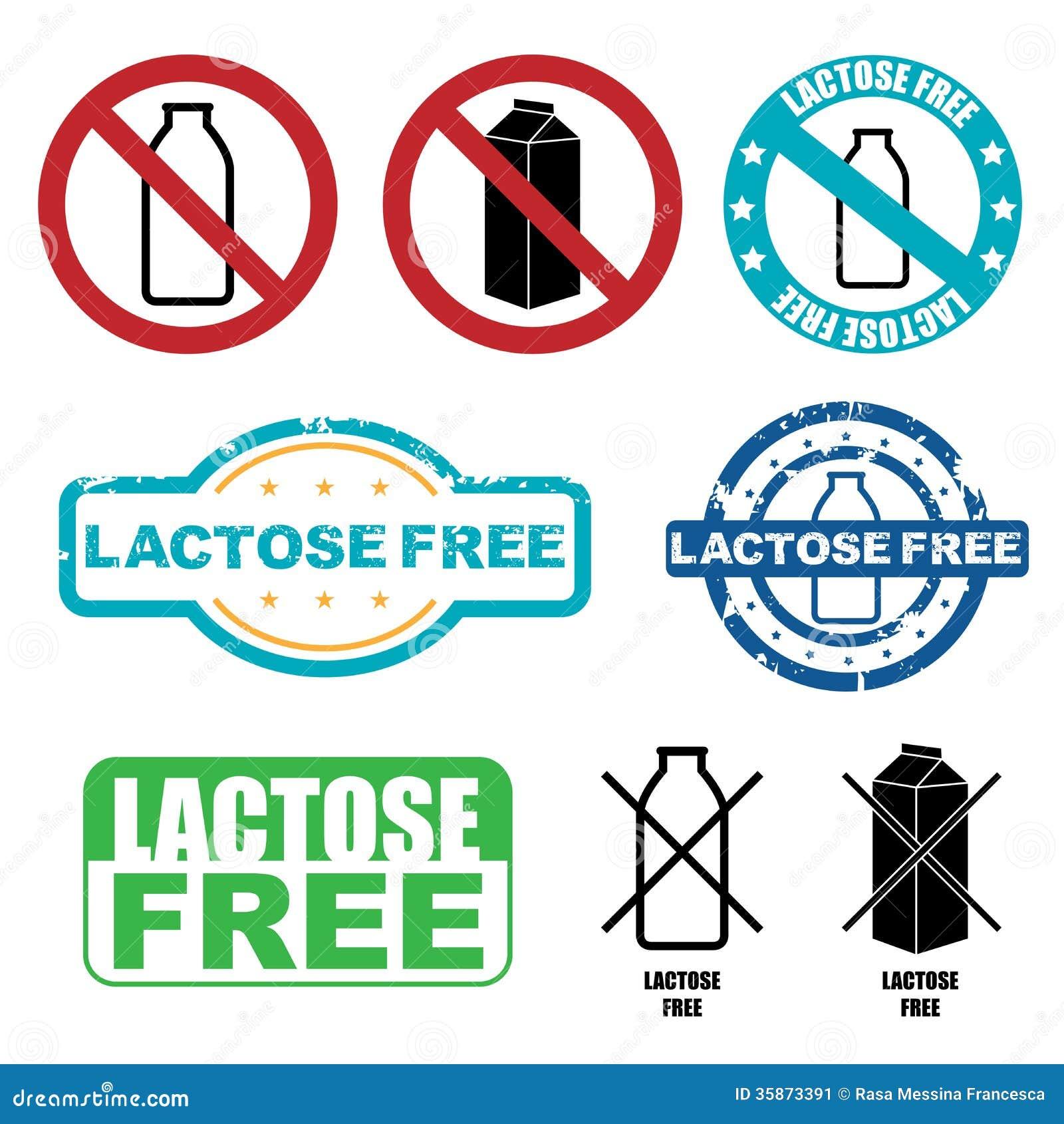 Set of lactose free symbols isolated on white background.
