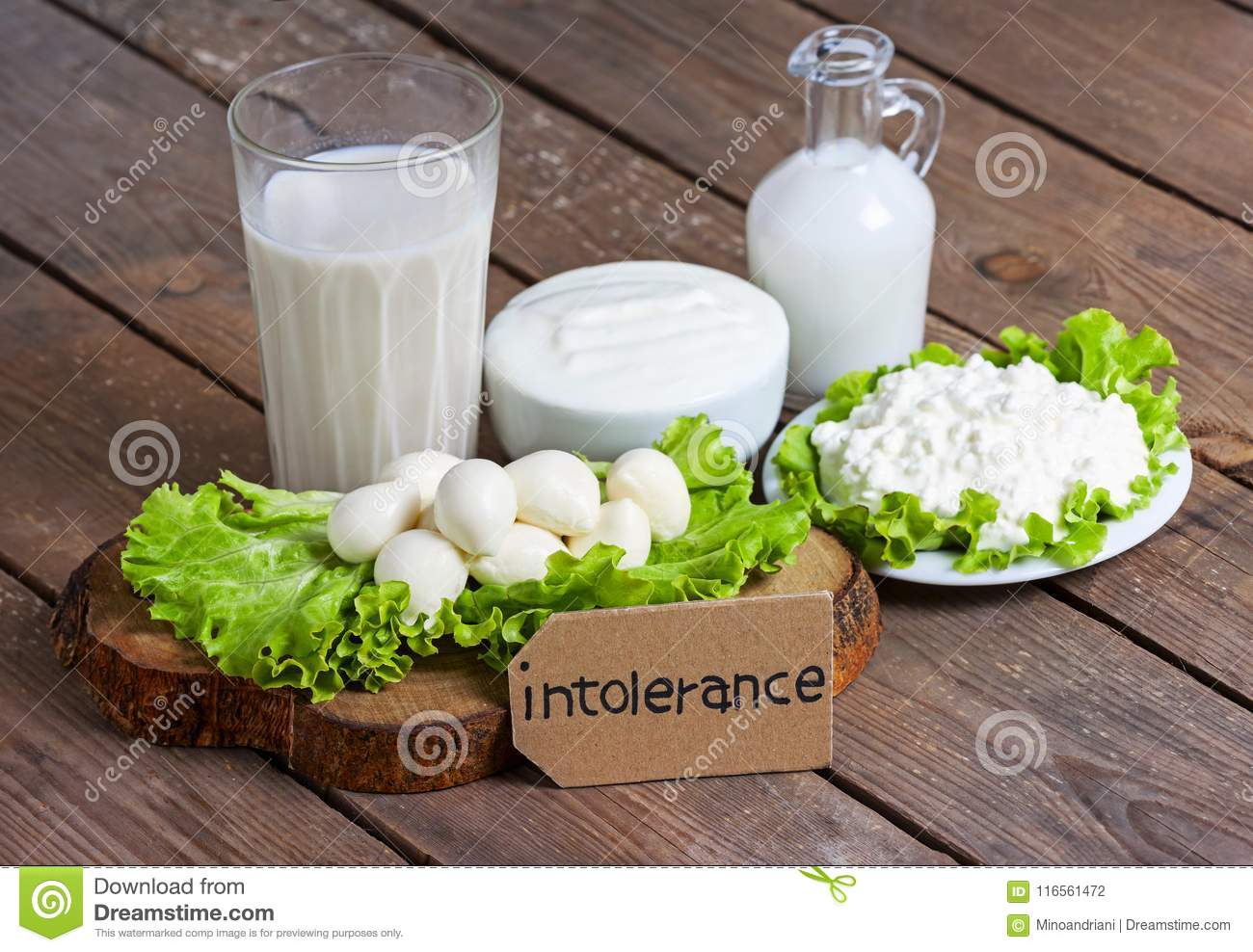 Lactose intolerance with wood background