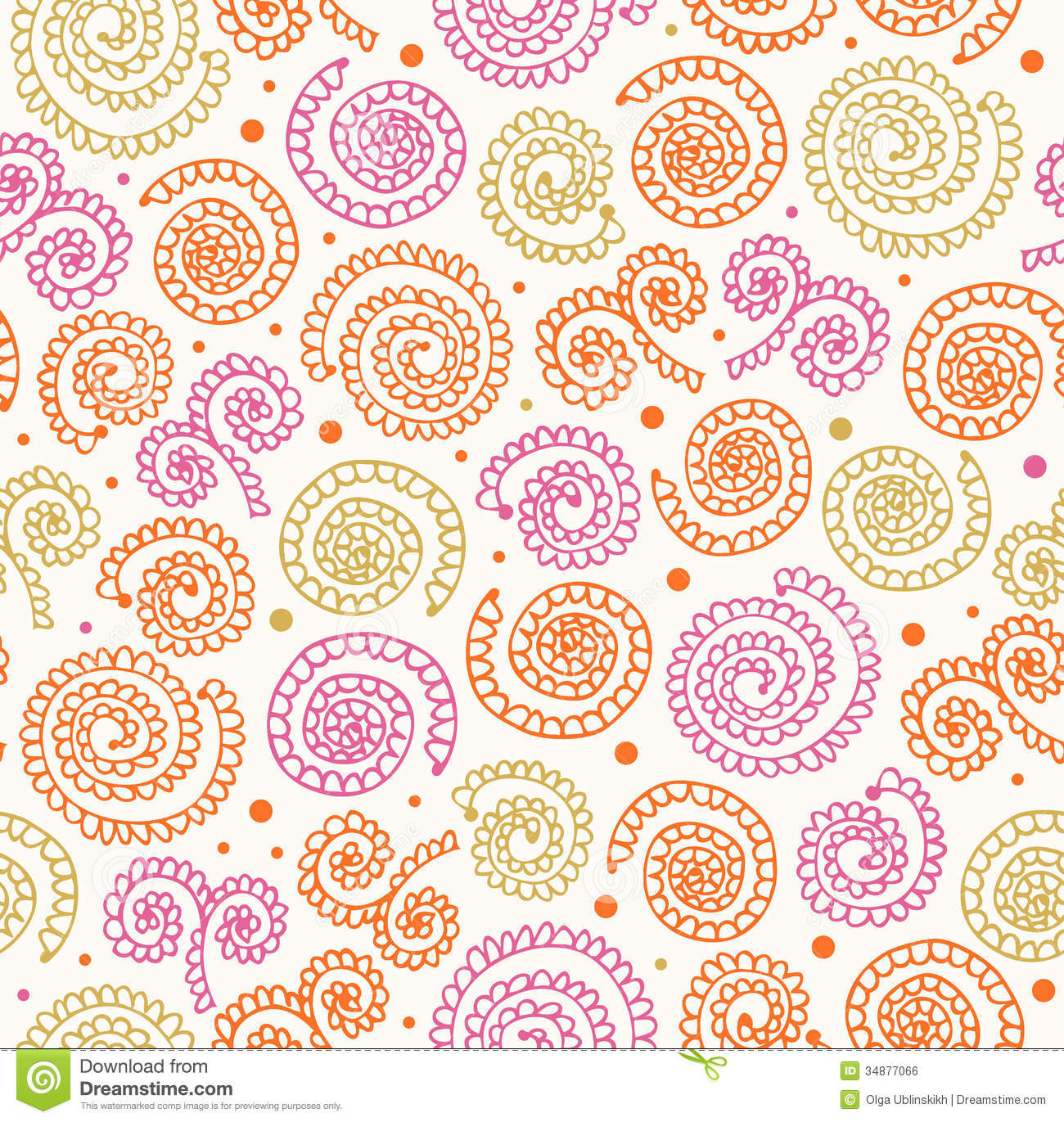 Royalty Free Stock Image: Lacy abstract spiral pattern Seamless doodle ...