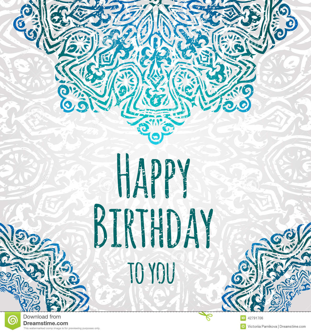Lacy Ethnic Vector Happy Birthday Card Template Romantic Vintage – Happy Birthday Card Templates Free