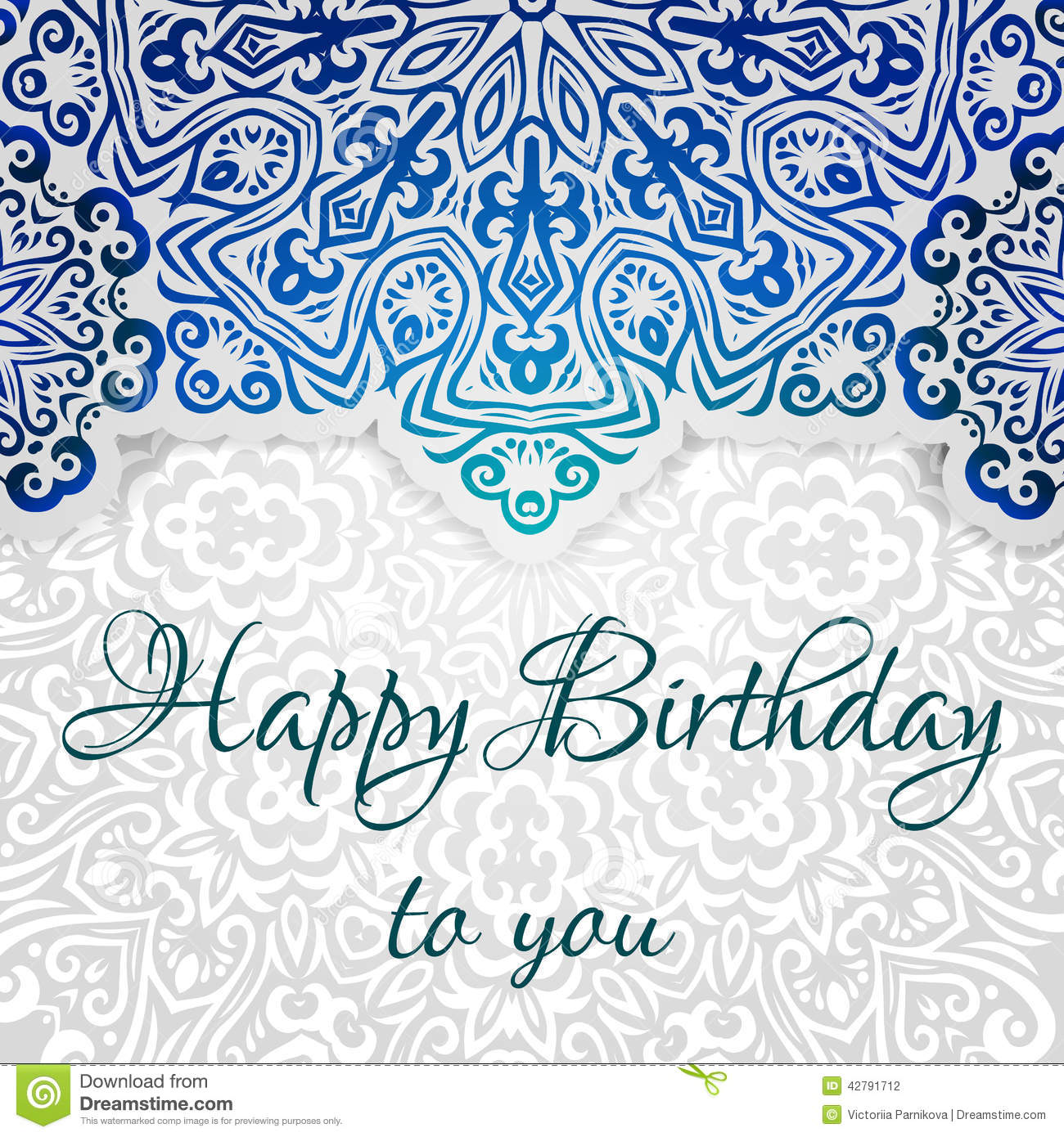 Lacy ethnic vector Happy Birthday card template. Romantic vintage ...