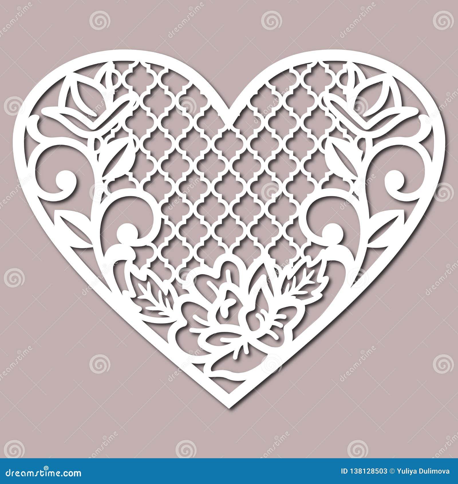 Lacy Heart Cutting Files för att gifta sig inbjudan