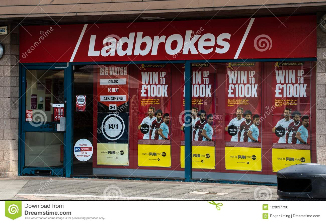 Ladbrokes bookies front editorial photo  Image of emblem