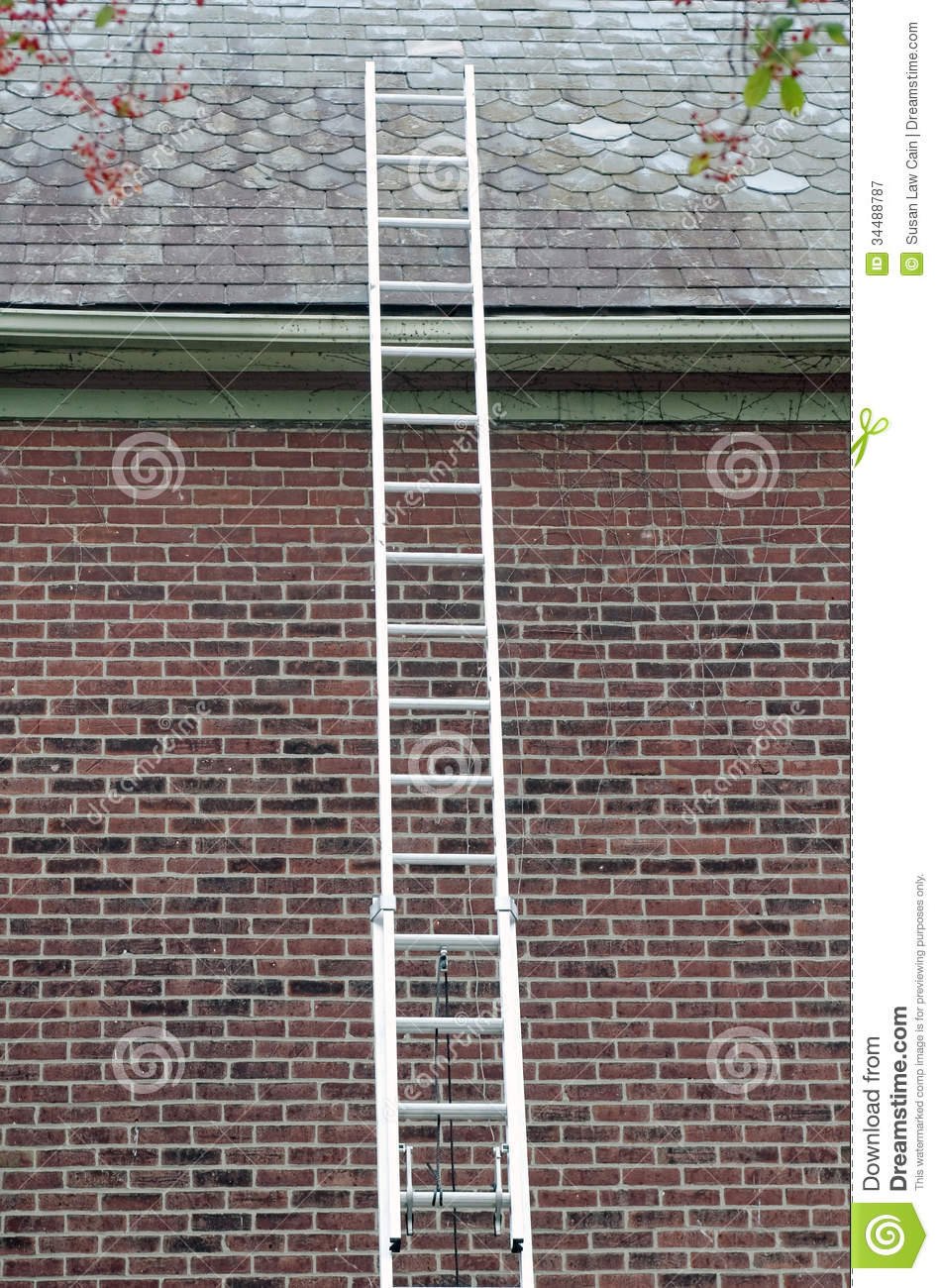 Ladder Against Slate Roof Stock Image Image Of Ladder