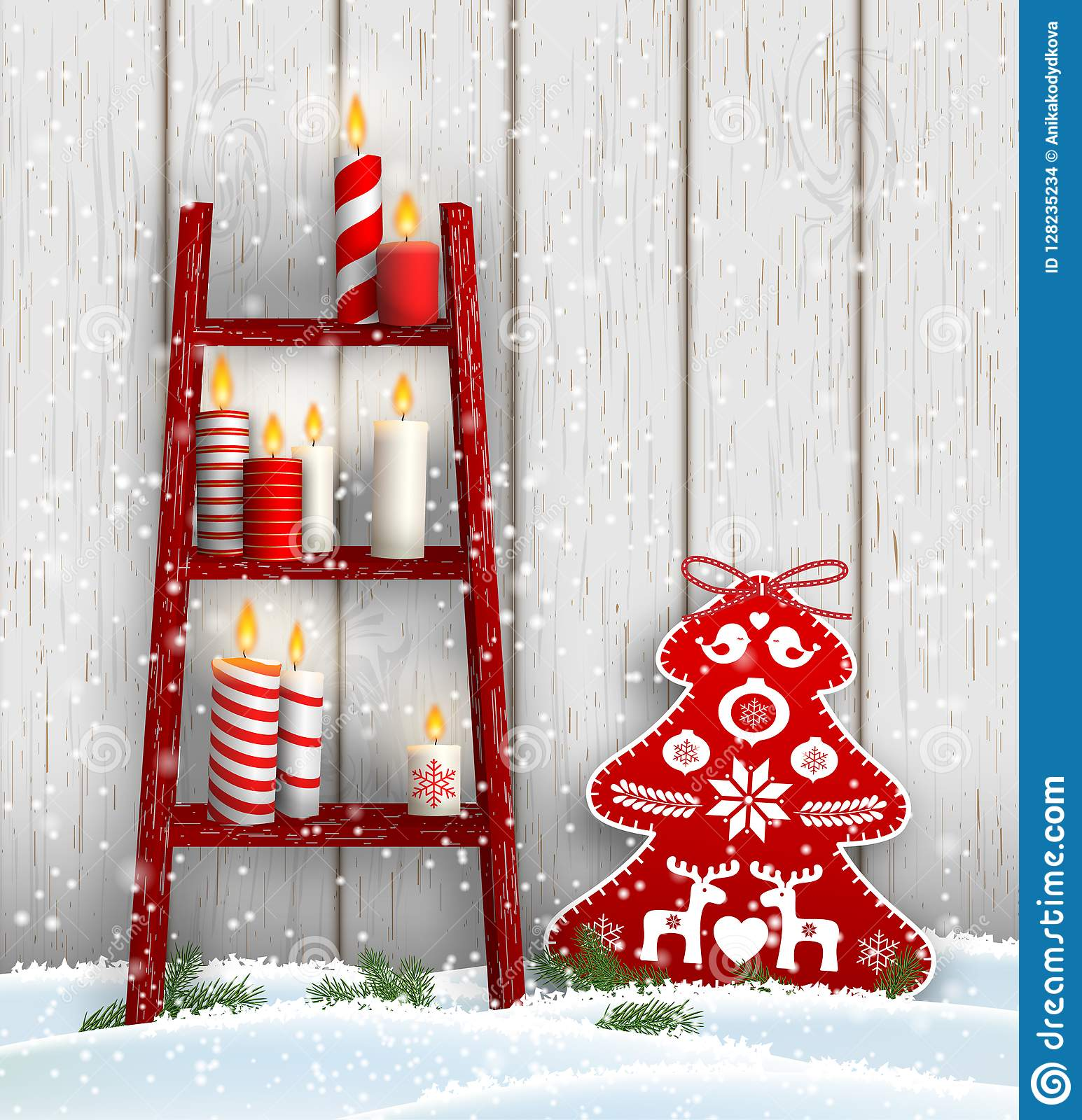 Ladder With Christmas Candles And Red Tree Decoration Stock Vector