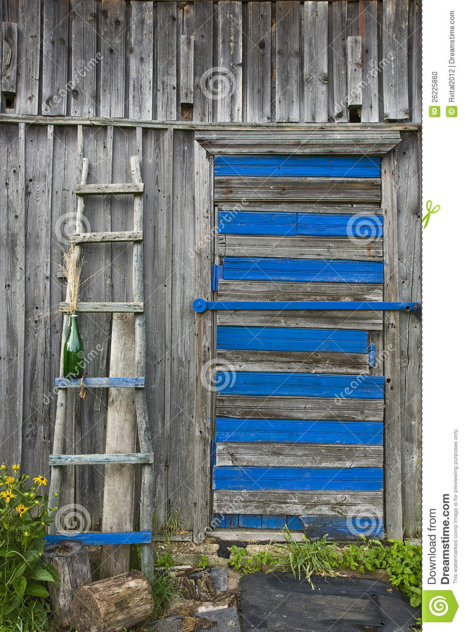 Ladder Leaning Against A Wooden Wall Stock Photo Image