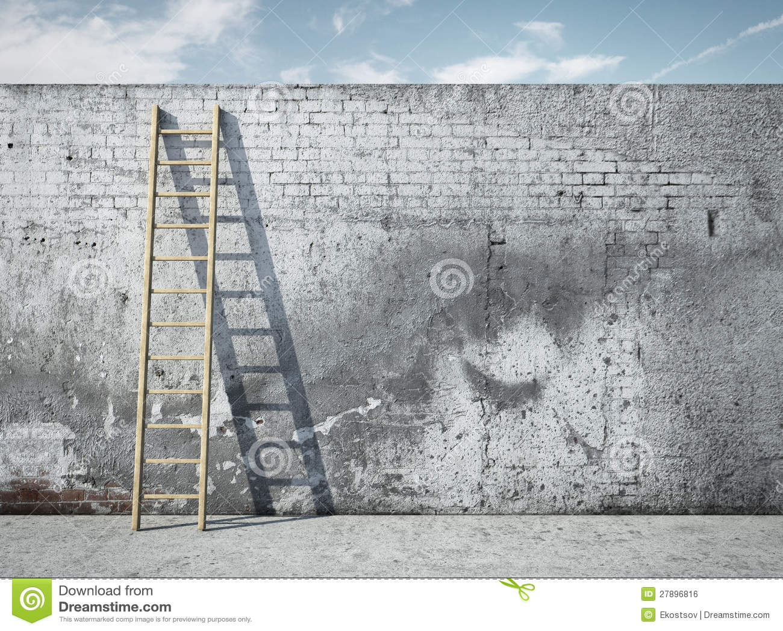 Ladder op muur voor hemel