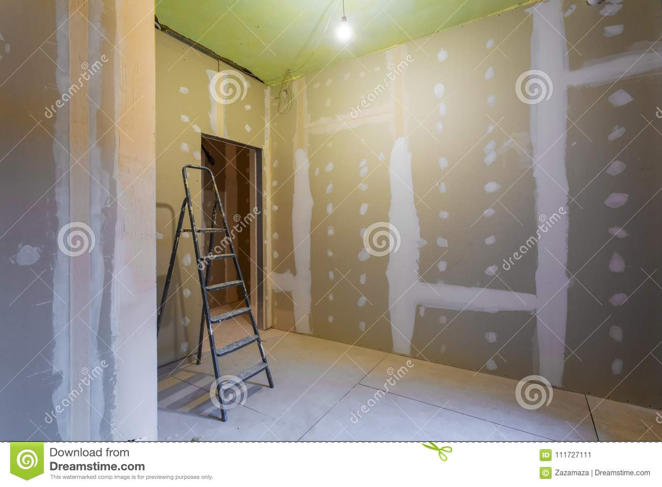 Ladder And Room Interior With Plasterboard Drywall For