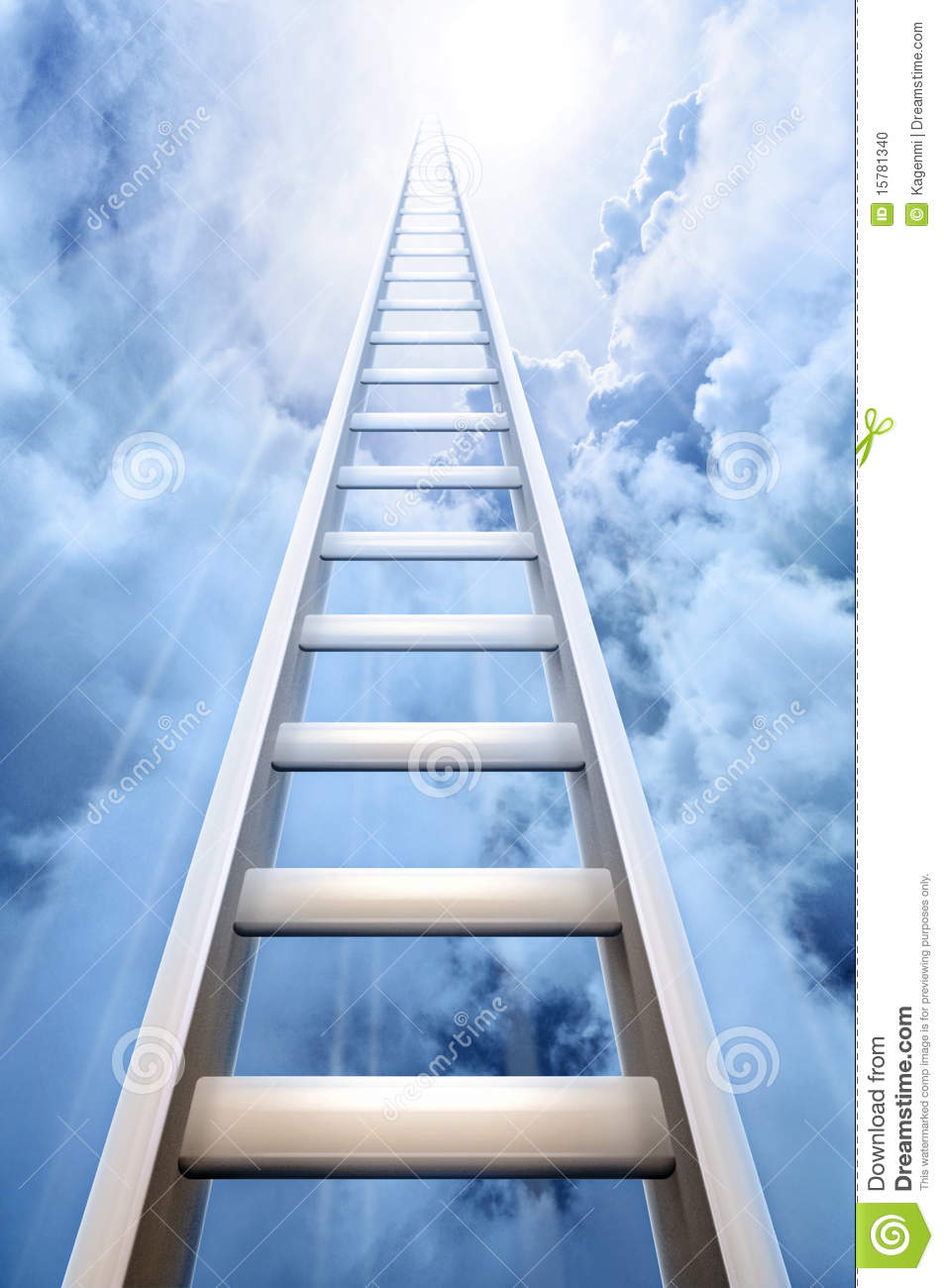 Reach For Clouds >> Ladder In Sky Symbolizing Success Stock Photo - Image: 15781340