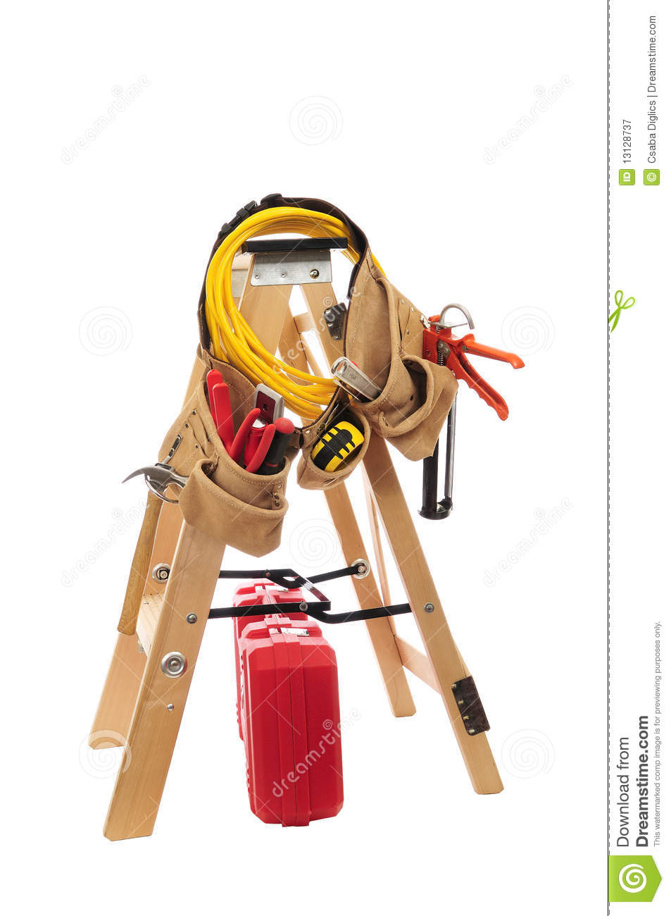 Ladder with tools