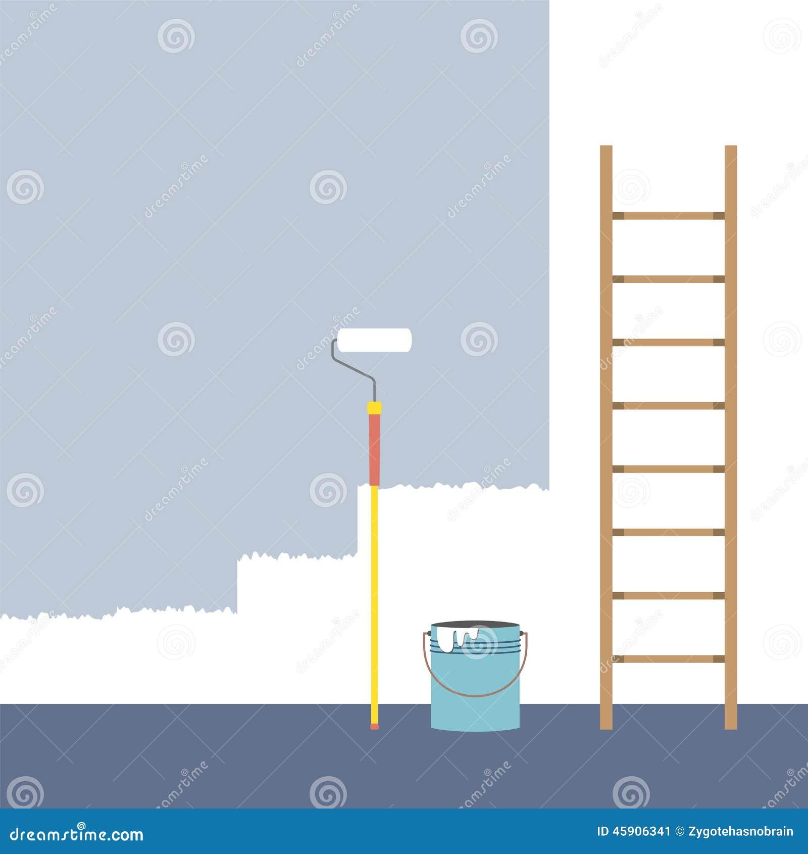 Ladder verfrol en het huisverbetering van de verfemmer vector illustratie afbeelding 45906341 - Huisverbetering m ...