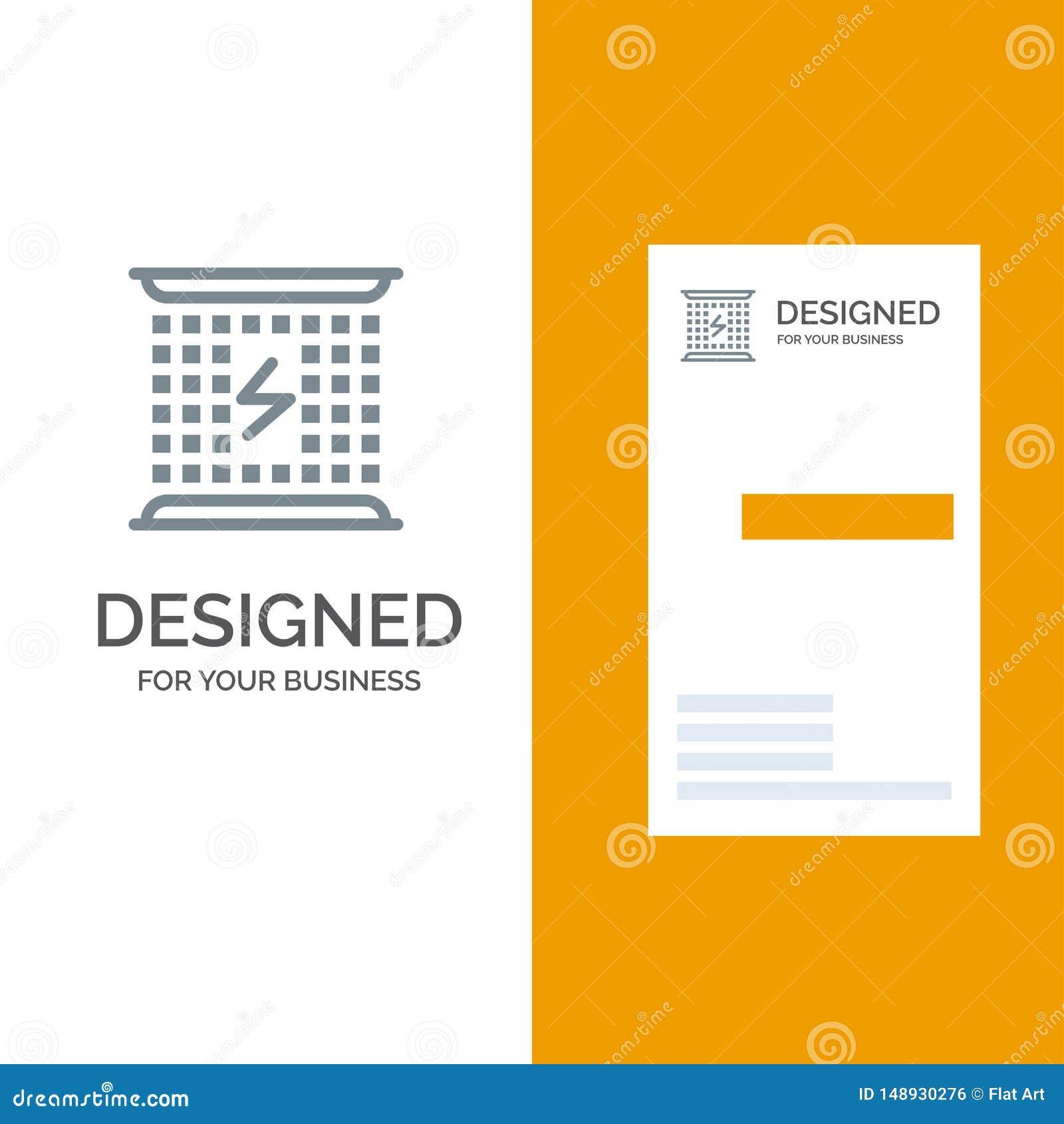 Laddning, uppladdning, elektricitet, elektromagnetiskt, energi Grey Logo Design och mall för affärskort