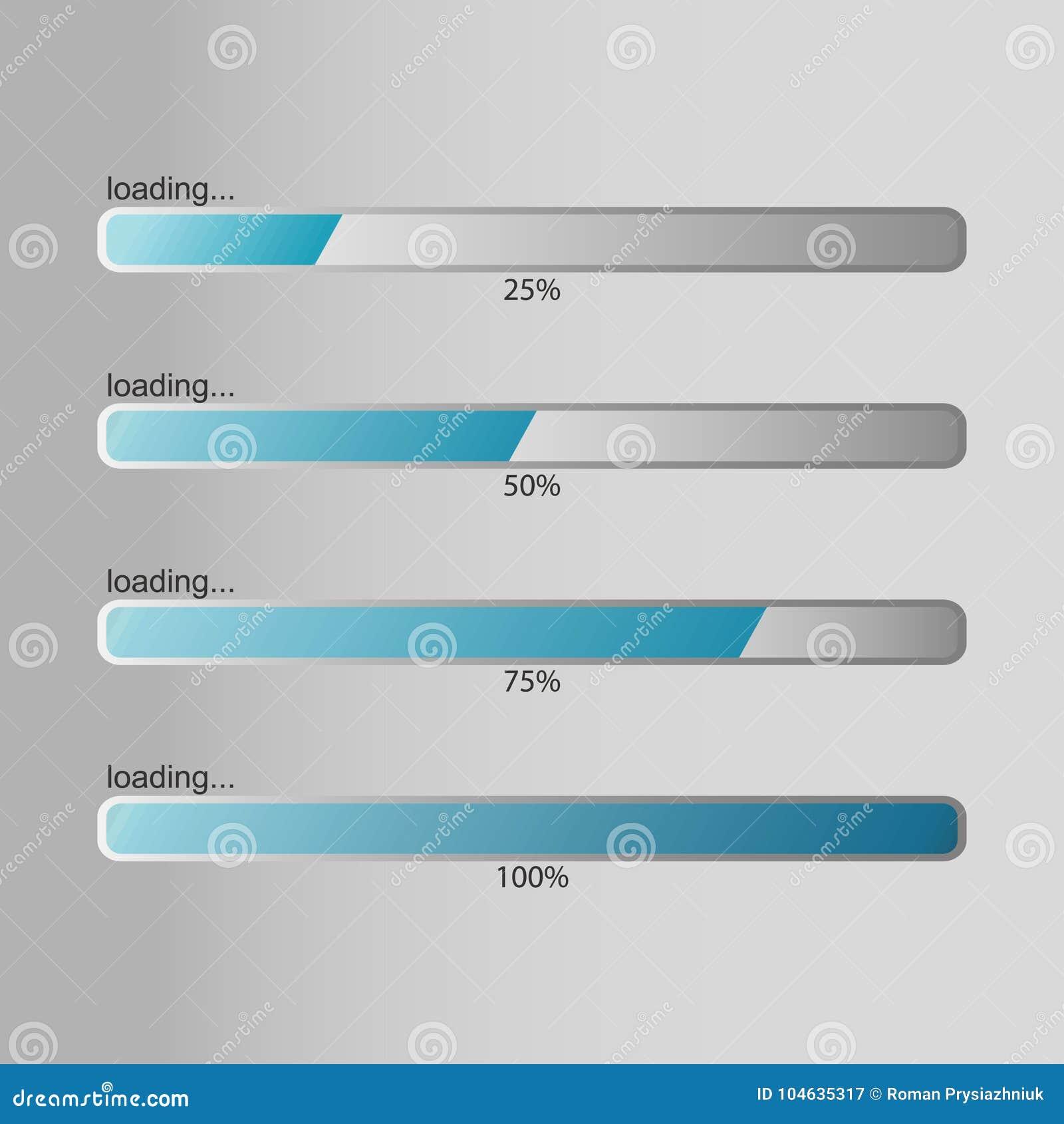 Download Ladende Bar Ontwerpmalplaatje Voor Percentagelading Die, Die Of Vooruitgang Downloaden Uploaden Vector Vector Illustratie - Illustratie bestaande uit basis, gegevens: 104635317