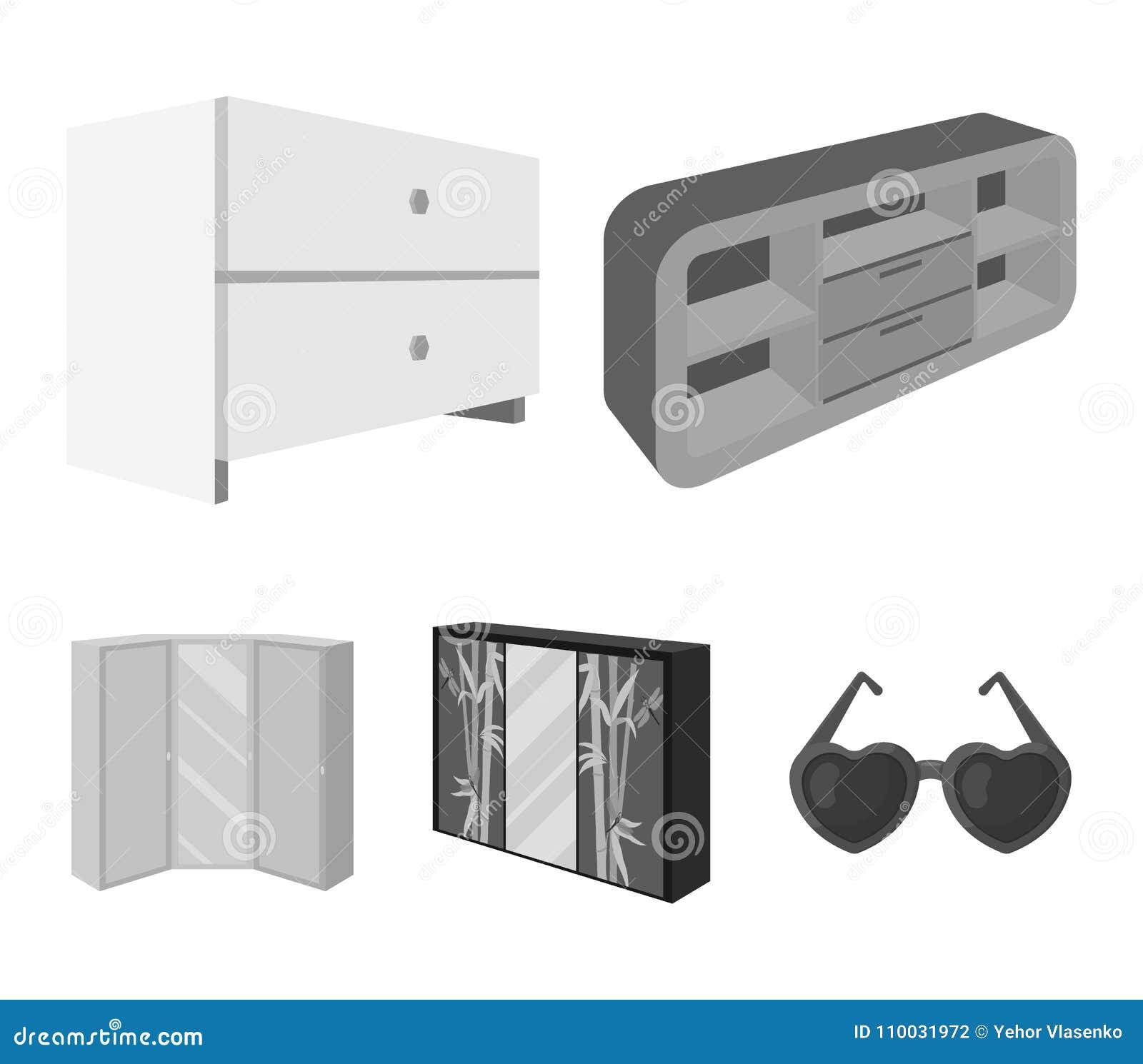 Ladenkast, garderobe met binnen spiegel, hoekkabinet, de witte pictogrammen van de het meubilair vastgestelde inzameling van de b