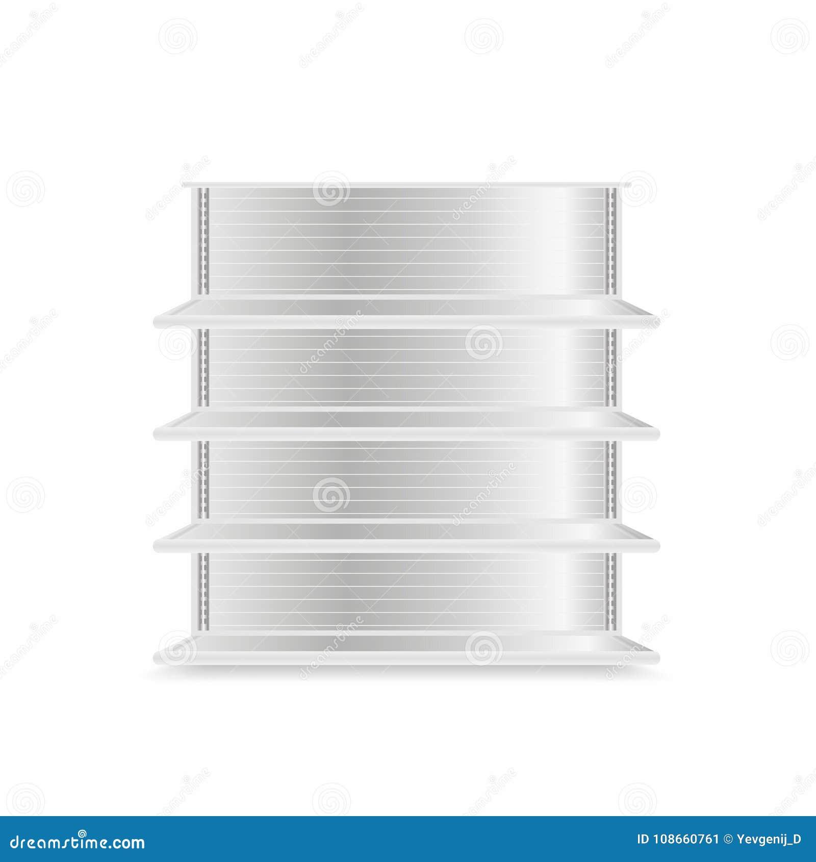 Ladenregalmodell lokalisiert auf weißem Hintergrund Realistische Supermarktmetallregale Leeren Sie Schaukasten