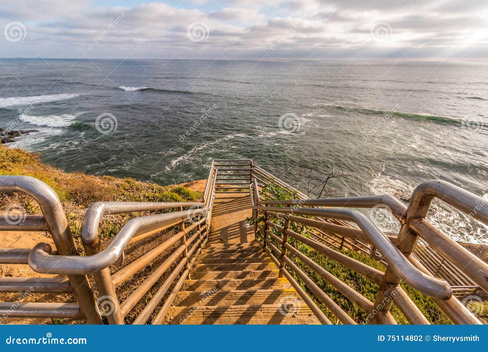 Ladera Street Ladder Overlooking Ocean at Sunset Cliffs