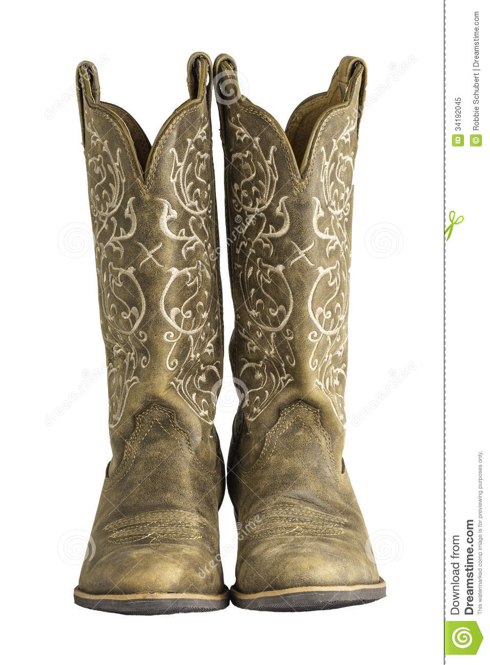Ladies Brown Western Cowboy Boots Royalty Free Stock Photo - Image ...