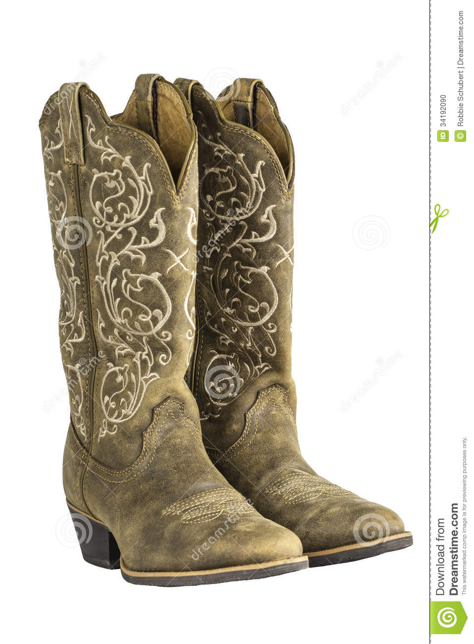 81d3e5578c7 A pair of brown ladies coyboy western boots isolated on a white background.
