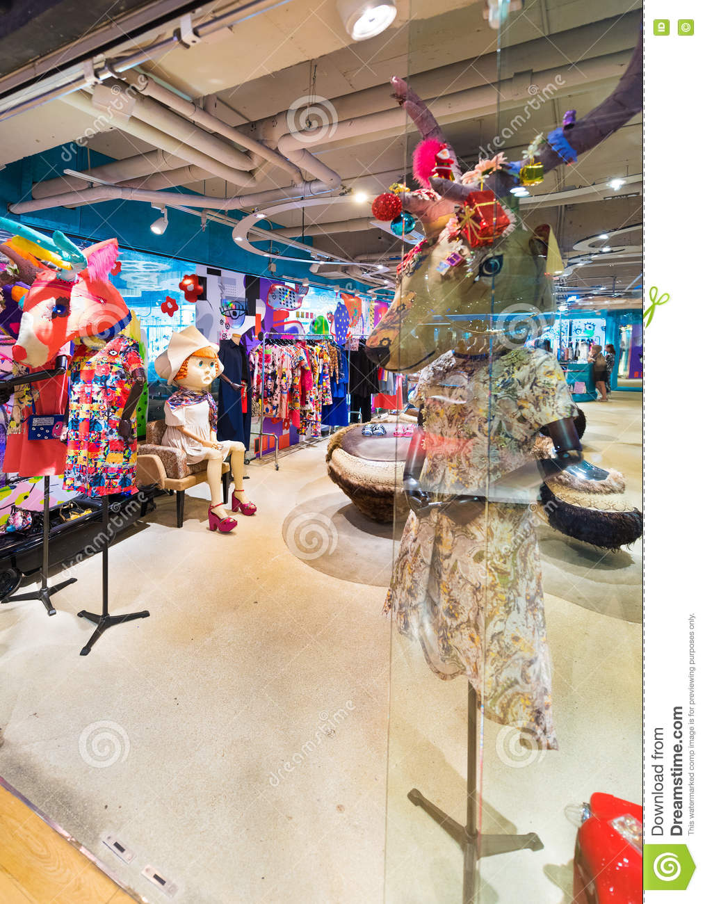 61a630d86b BANGKOK - MARCH 17, 2016: A ladies clothing store with fancy mannequins  having deer heads. It is located in the Siam Center (built in 1973), one of  Bangkoks ...